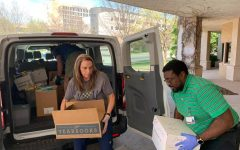 On March 26, Moore Public Schools administration filled four district vans full of antibacterial wipes, gloves, and hand sanitizer. They delivered the supplies to Norman Regional Hospital and OU Medical Center.