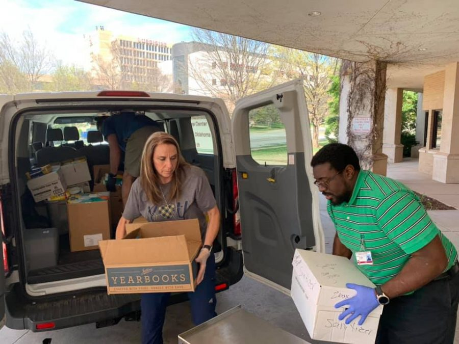 On+March+26%2C+Moore+Public+Schools+administration+filled+four+district+vans+full+of+antibacterial+wipes%2C+gloves%2C+and+hand+sanitizer.+They+delivered+the+supplies+to+Norman+Regional+Hospital+and+OU+Medical+Center.
