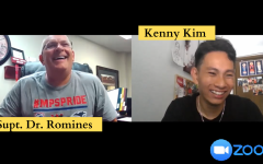 Publications Editor Kenny Kim video chats with Moore Publics School Superintendent Dr. Robert Romines.