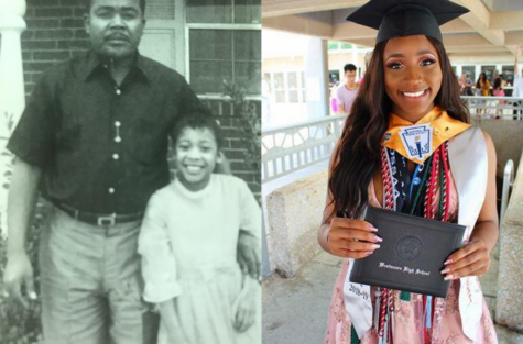 Side-by-side photos of Brenda Palmer and Joy Okpoko during their school days.